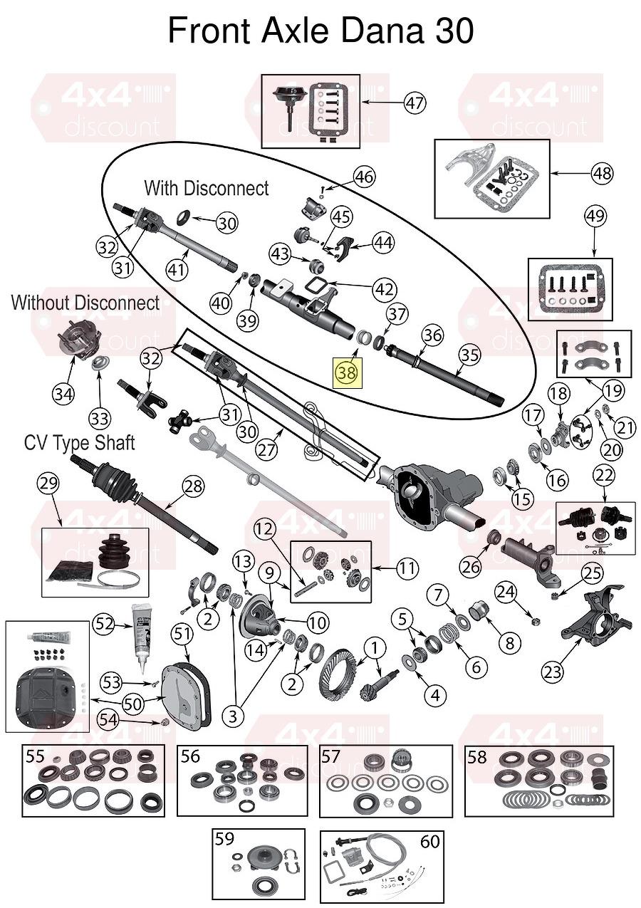 Guide  Axle W  Disconnect Xj  Rechts  Vorne Vorderachse
